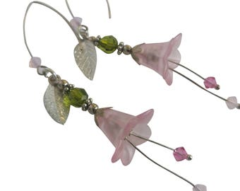 Long Pink Floral Earrings | Beautiful Earrings for Women | Gifts for Wife | Handmade Earrings | Pink Jewelry | Baby Pink Jewelry Gifts