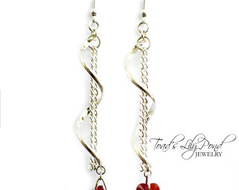 Swarovski Crystal Red Heart Dangle Earrings - Silver Spiral Earrings - Crystal Heart Earrings - Dangle Earrings - Swarovski Heart