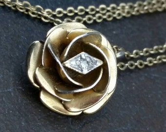 dcc8cb8be4a Vintage Karen Lynne Gold Rose Tested Diamond   Hallmarked 12k Gold Filled  3D Pendant Necklace
