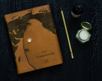 Leather Travel Journal with Laser Engraved World Map