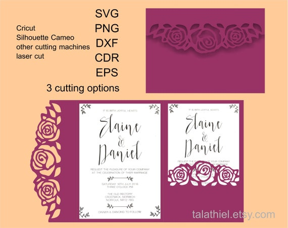 5x7 Trifold Wedding Invitation Roses Tri fold Template SVG Envelope Wedding Invitation Pocket DXF cutting file Cricut Digital download