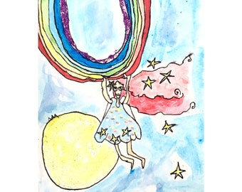 The rainbow girl and the stars falling down- original artwork- aquarelle painting for small gift or home decoration- paintings and tales