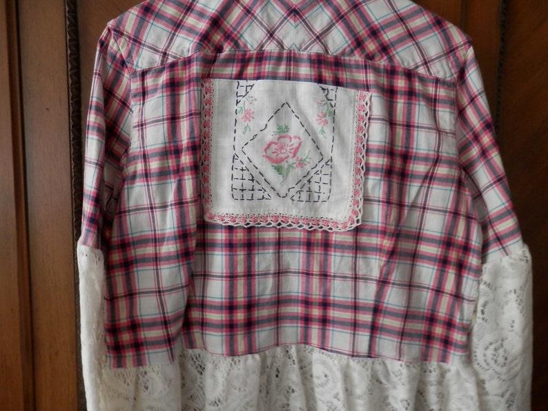 DusterJacket Boho-Chic Shabby Gipsy Banana Republic Brand Upcycled PinkNavy Plaid Shirt Size M