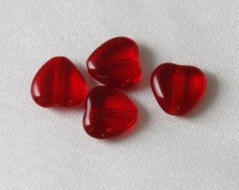 20 pcs - 10mm Czech Glass Red Heart Beads