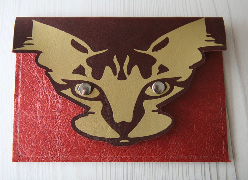 Recycled Leather Leather Cat Purse Pouch