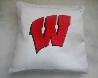 Wisconsin White  with Red W Embroidered  Corn hole Bags