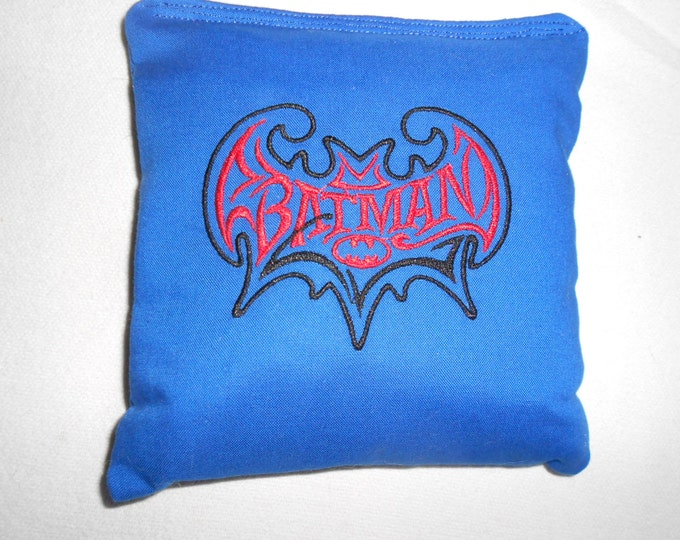 Blue  Batman Embroidered Corn Hole Bags