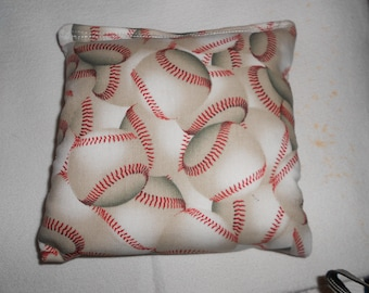 White Baseballs Corn hole Bags
