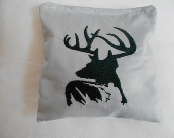 Deer with Hunter  Embroidered  Corn hole Bags