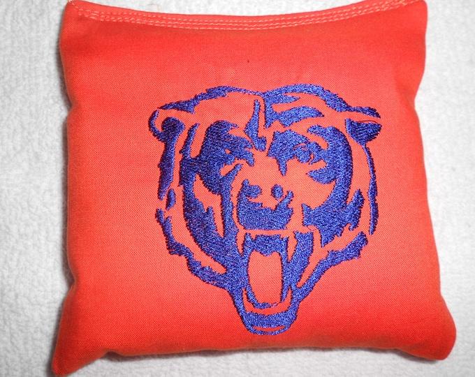 Embroidered Orange Bears Face Corn hole Bags