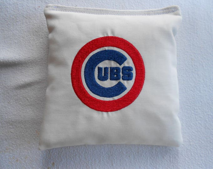 Embroidered White  and red circle Cubs Corn hole Bags