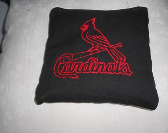 Black Cardinals with red emboidery Corn hole Bags