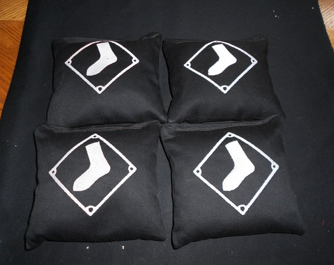 Embroidered White Sox  Corn hole Bags