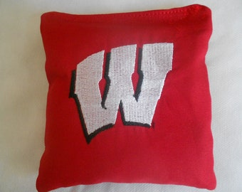 Wisconsin Red  Embroidered  Corn hole Bags