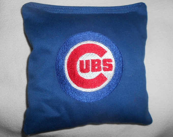 Blue Embroidered Cubs  Corn hole Bags