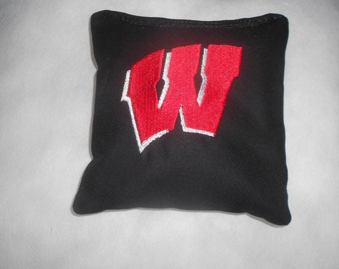 Wisconsin Black  Embroidered W  Corn hole Bags