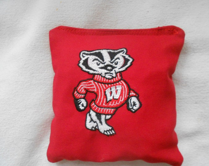 Wisconsin Bucky badger Embroidered Corn hole Bags