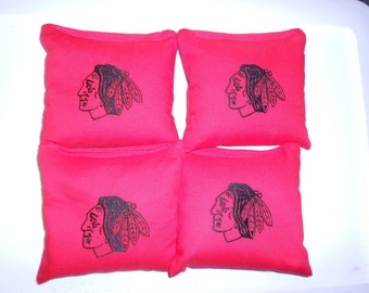 Embroidered Hawks Set of 4   Corn hole Bags