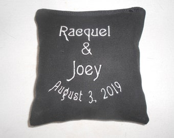 Names and Wedding Date Embroidered  Corn hole Bags