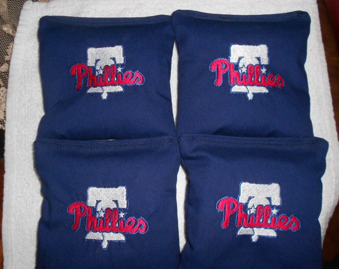 Embroidered Blue Phillies Corn hole Bags