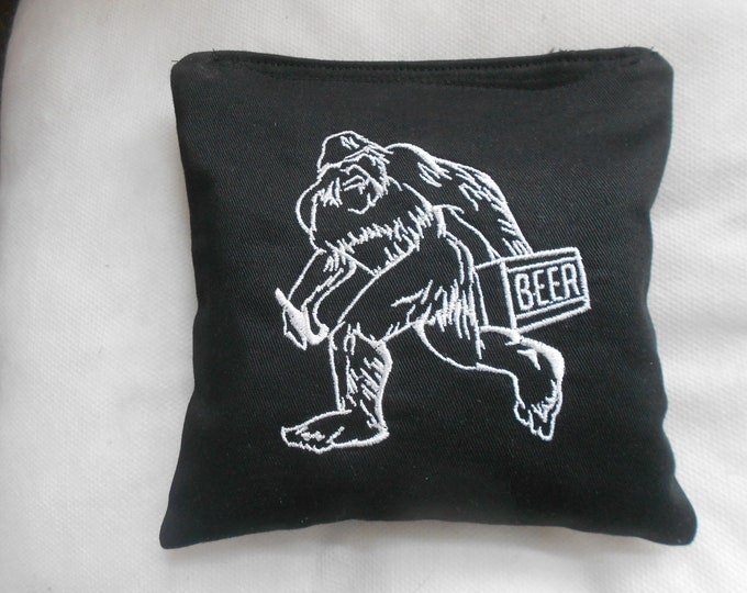 Big Foot with Beer Embroidered Corn hole Bags