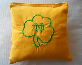 Gold Shamrock N D Embroidered Corn hole Bags