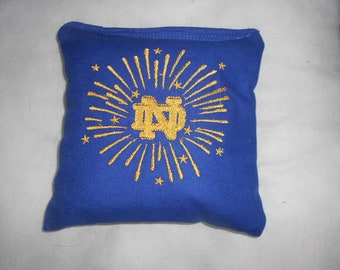 Blue with Gold lettering N D Embroidered Corn hole Bags