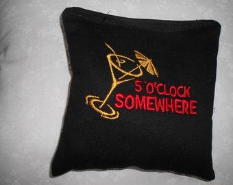 5  O'clock Somewhere  Embroidered Corn hole Bags
