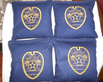 Police Badge  Embroidered  Corn hole Bags
