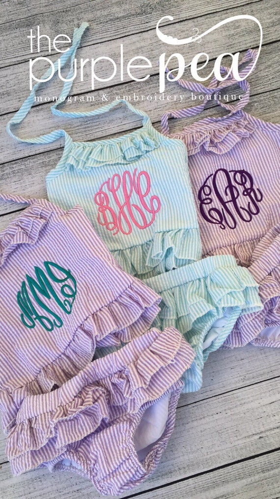 2 piece monogrammed swimsuit personalized swimsuit Monogrammed Girls bathing suit lizzie girl embroidered bathing suit FREE monogram