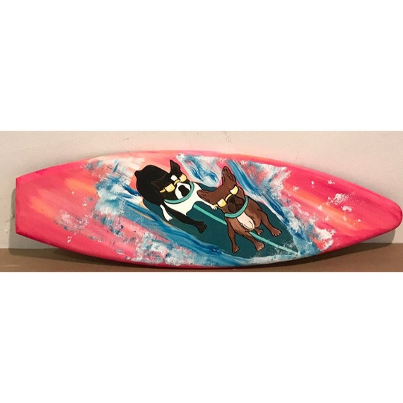 4ft WOOD SURF SURFBOARD DECOR DECORATION PROP REPLICA BOSTON TERRIER DOG SURFING