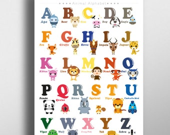 Alphabet Animal Poster 11 x 16 on A3, Alphabet Letter A - Z, Kid Room decor, Playroom decor, Poster for kids