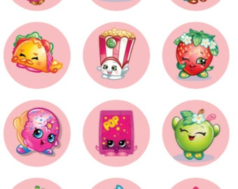 Amazing Shopkins Goodie Bag Labels Cupcake Toppers Stickers Favors Digital Download  2 Inch Circles Collage Pdf Instant Printable Labels 22807