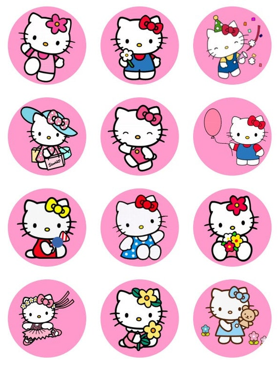 Hello kitty inspired cupcake toppers or stickers favor tags etsy image 0 maxwellsz