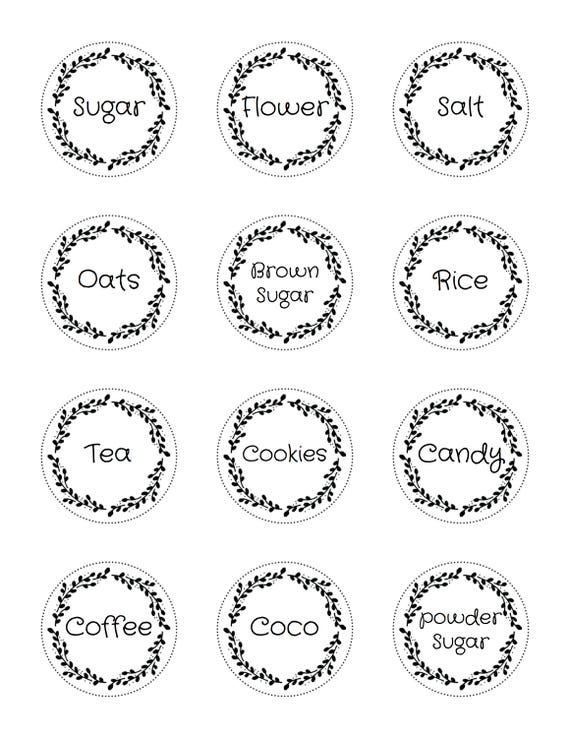 image about Circle Printable Labels titled Canister Pantry labels stickers 2 inch circles quick printable labels 22807