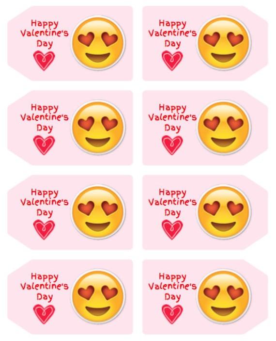emoji valentine s day favor tags digital download 2x3 5 etsy
