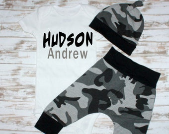 Personalized Camo Infant Outfit- Newborn Boy Gift- Baby Shower Gift-Baby Camo