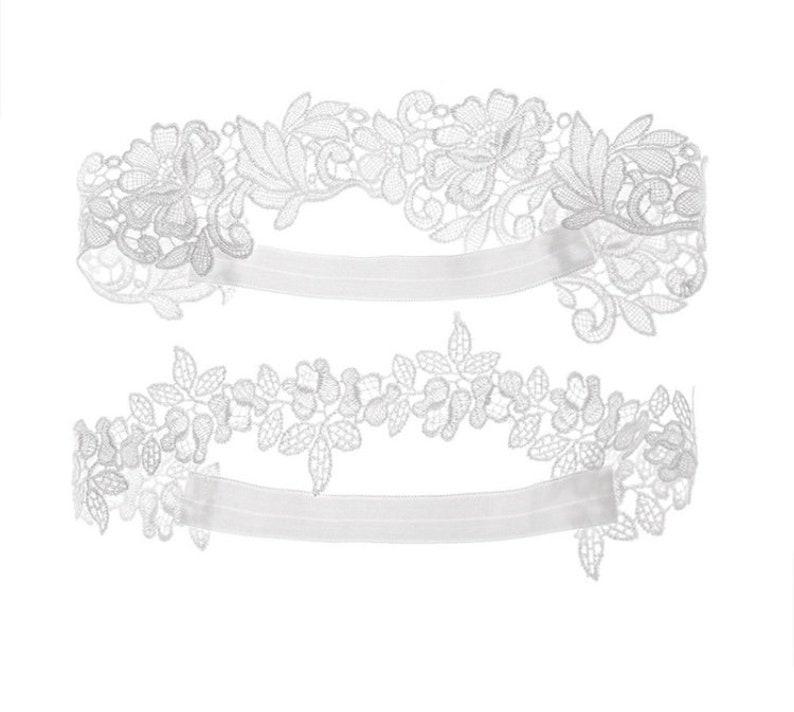 Flowers Bridal Garter-Stretch Lace Wedding Garter Set More Colors Available-Something Blue Wedding