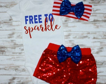 6 month- 6 year old Sizes- Fourth of July Girls Baby Clothes- Free To Sparkle