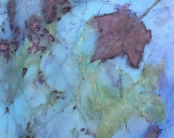 """Silk Scarf, bold blue indigo, leaf designs & colors imprinted from Nature, 8"""" x 72"""", Organic, sustainable silk art by artist, OOAK"""