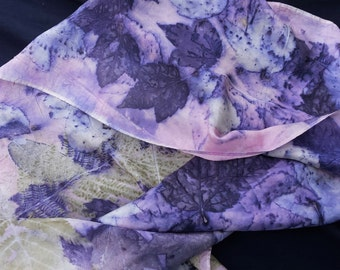 """Silk Scarf, ECO-printed with fall leaves in all natural colors, by artist, totally organic & renewable, 8"""" x 54"""" FREE ship USA"""