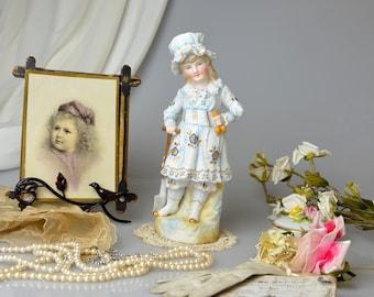 Antique German Bisque Girl Doll Porcelain Figurine Victorian Style Statue Romantic Home Decor French Cottage Chic Boudoir Nursery Decor