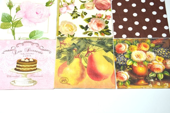 Mix of 9 Decoupage Paper Napkins, Printed Paper Napkins, Craft Paper  Napkins for Decoupage Mixed Media Collage Scrapbooking