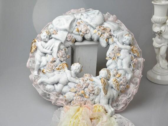 Vintage White Ceramic Cherub Featured Home Decor Collectibles