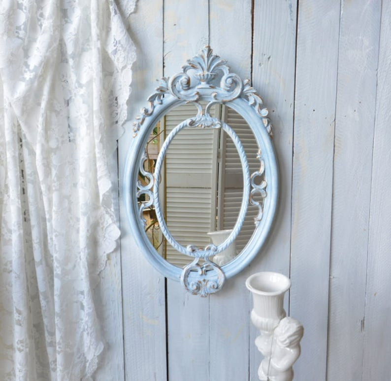 9376286d042d Antique Style Ornate Oval Mirror Mid Century Italian Wall