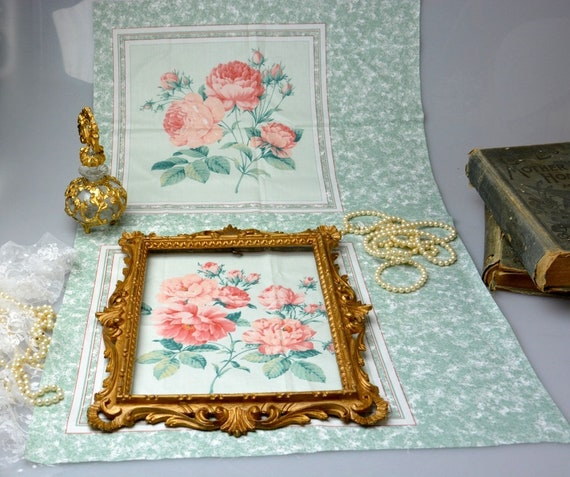 Shabby Rose Happy Printed On Fabric Panel Make A Cushion Upholstery Craft