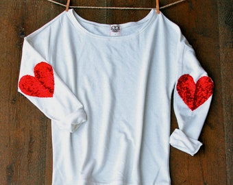 9adfe2ff0812 Valentines Day Sequin Heart Elbow Patch Shirt - Heart on My Sleeve - Red  Heart Sequin Elbow Patch Jumper Gift Idea for Girlfriend Women