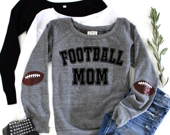 46ec2bf01 Football Mom Shirts / Game Day Shirt / Sequin Elbow Patches / Football  Sweatshirt / Gift Women / Sports Fan Gift / Custom / Cheer Mom
