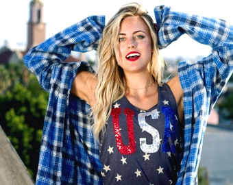 SEQUIN USA Star 4th of July Tank Shirt. Summer. 4th of July Shirt Womens. Stars Stripes. Fourth of July Shirt. America Tee. USA Tank.