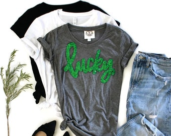 727a74ce8 St Patricks Day Shirt Women / Sequin Patch / Lucky / Shamrock / St Patricks  Party Tee / St Pattys / St Paddys / Cute St Patricks / Irish Tee
